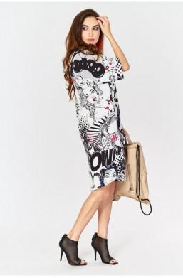 Sukienka gazeta, wzory made in Italy Creation na lato,sukienka na wyjście