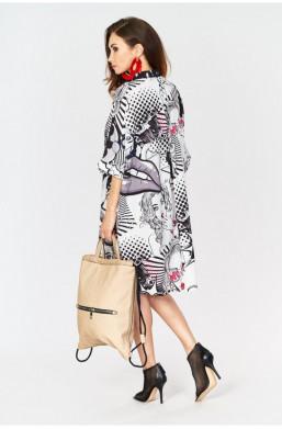 Sukienka gazeta, wzory made in Italy Creation do klapek,luźna sukienka,zwiewna sukienka