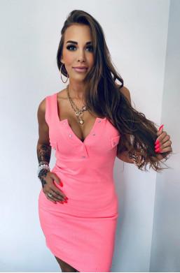 Sukienka prążek z guziczkami różowa Lola Bianka,sukienka z dekoldem,sukienka z ramiączkach,obcisła sukienka