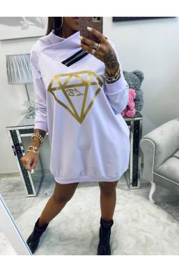 bluza oversize,Bluza zasuwak z diamentem Lola Bianka,długa bluza,wygodna bluza,ciepła bluza