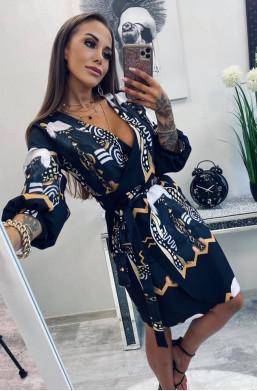 sukienka wiązana w talii, sukienka na uroczystość, sukienka na kolację
