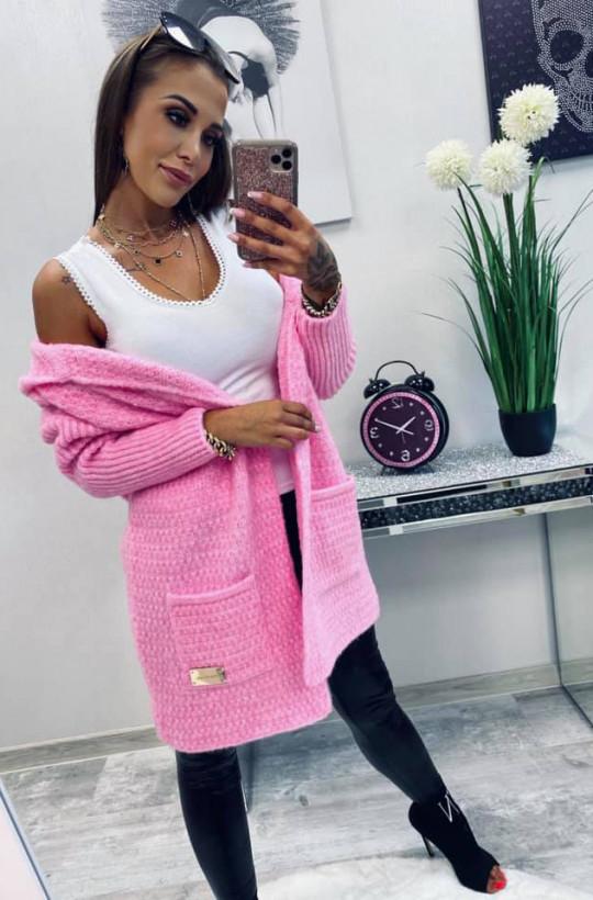 sweter długi, sweter ciepły, sweter jesienny,różowy sweter,sweter z kieszenią,Ciechanów,sweter do kolan