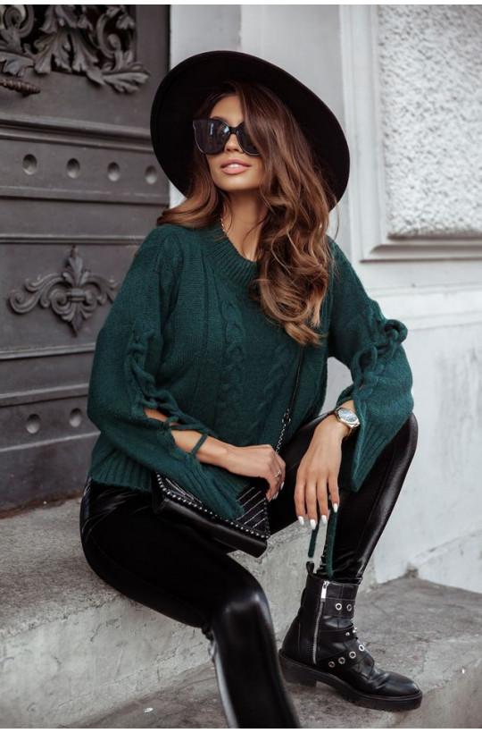 luźny sweter,Sweter Cocomore zielony,modny sweter,sweter na wiosnę,sweter na jesień,ciepły sweter,warszawa,ciechanów