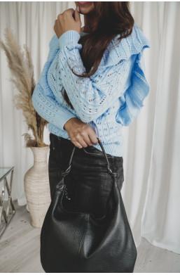 Sweterek z falbankami Simental błękitny Lena Largo,krótki sweterk,sweterk z falbankami,modny sweterek,oryginalny sweter