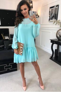 Sukienka szyfonowa O La Voga szary, detal,krótka sukienka,sukienka na imprezę