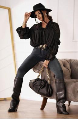Bluzka KOSZULA JADE  O'LA VOGA czarna,luźna koszula,luźna bluzka,zwiewna koszula,koszula na wiele okazji,hit2020