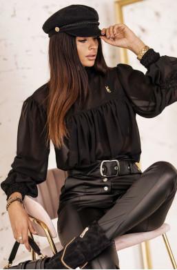Bluzka KOSZULA SALLY O'LA VOGA czarna,elegancka koszula,luźna koszula,zwiewna koszula,stylowa koszula,modna koszula