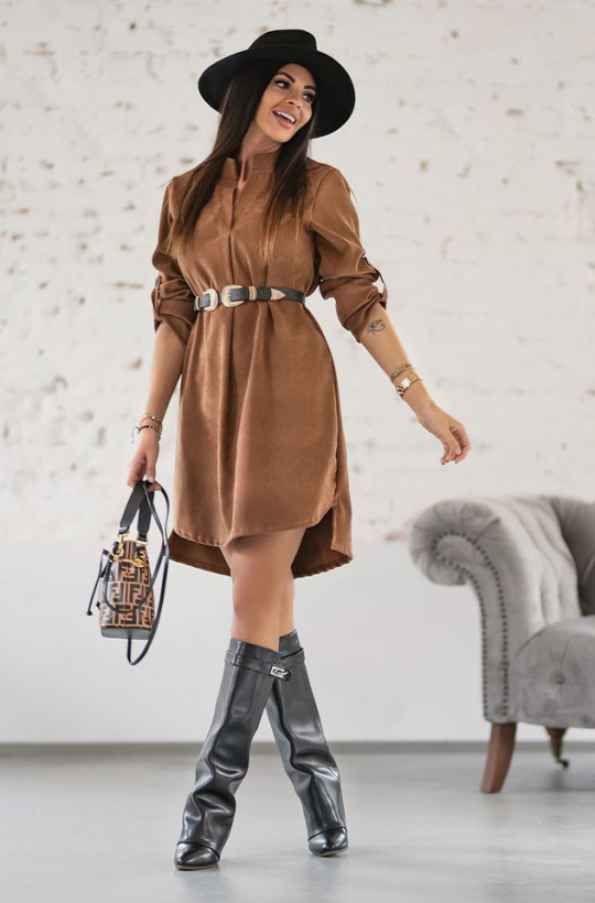 sukienka imitacja sztruksu, sukienka do pracy, sukienka przed kolana,