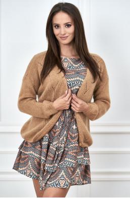 Sweterek rozpinany Mele camelowy,ciepły sweterek,jasny sweterek,sweter na wiosnę,sweter na jesień