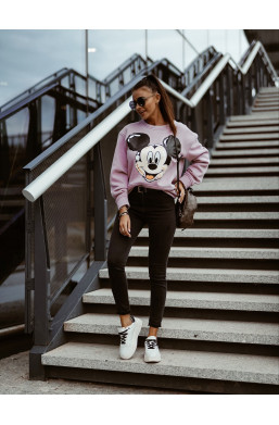 BLUZA miki O La Voga blady róż,modna bluza,damska bluza,ciepła bluza,fioletowa bluza,hit2020