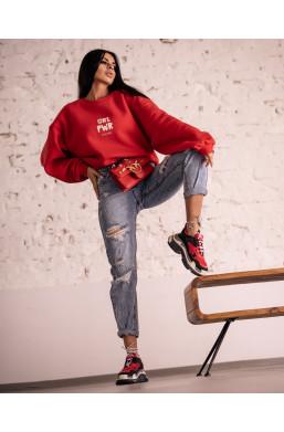 BLUZA girl oversize O La Voga czerwona,gruba bluza,oversize bluza,czerwona bluza,bluza na zimę,krótka bluza,ciechanów