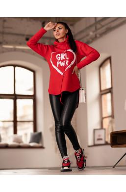 BLUZA girl power oversize O La Voga czerwona,czerwona bluza,bluza z napisem,bluza oversize,bluza z kapturem,ciepła bluza