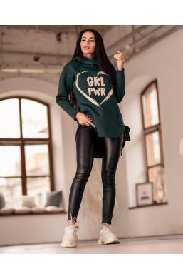 BLUZA girl power oversize O La Voga zielona,zielona bluza,bluza oversize,bluza z napisem,damska bluza,modna bluza