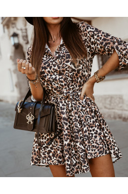 SUKIENKA bell dress panterka O La Voga,modna sukienka.sukienka w panterkę,sukienka z wzorem