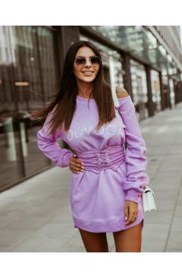 BLUZA STAYS Z PASKIEM fioletowa oversize O La Voga,fioletowa bluza,ciepła bluza,bluza na wyjście,bluza z paskiem,hit2020