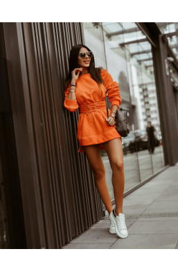 BLUZA STAYS Z PASKIEM pomarańczowa oversize O La Voga,oryginalna bluza,długa bluza,oversize bluza,hit2020