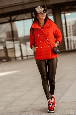 KURTKA LIMA CZERWONY O la Voga,długa kurtka,kurtka z guzikami,kurtka na jesień,kurtka na zimę,ciepła kurtka