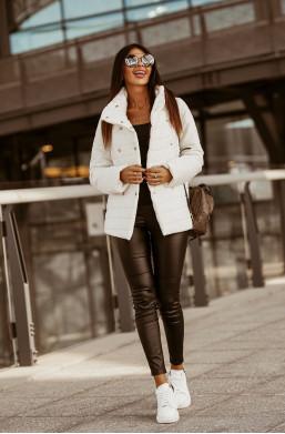 biała kurtka,KURTKA LIMA biały O la Voga,długa kurtka,kurtka z guzikami,ciepła kurtka,kurtka na wiosnę,jesień,zimę