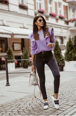 BLUZA Z FALBANAMI LILA O la Voga,modna bluza,bluza na wiele okazji,elegancka bluza,fioletowa bluza,ciepła bluza
