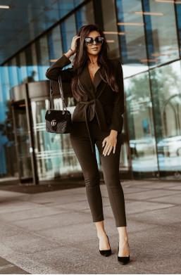 Komplet garnitur LORENA czarny O La Voga,czarny garnitur,damski garnitur,komplet garnitur,garnitur z paskiem,modelujący garnitur