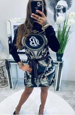 czarna sukienka,klasyczna sukienka,sukienka z golfem.sukienka Lola Bianka,sukienka welur,najniższe ceny