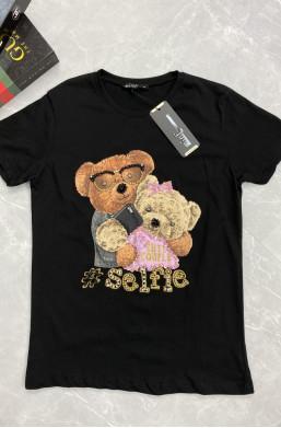 bluzka z misiem, t shirt z tady, t shirt z misiem z kamieni,krótki thisrt,czarna koszulka