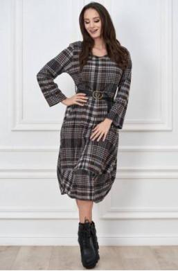sukienka midi, sukienka w kratę, sukienka do kozaków,długa sukienka,sukienka brązowa,sukienka z paskiem GG,hit 2021