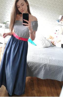 Sukienka JEANS  Made in Italy ,sukienka w paski,sukienka z paskiem,ozdobna sukienka