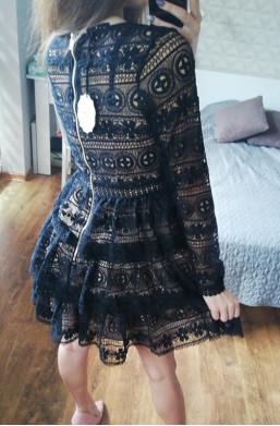 Sukienka z kratką  czarny na imprezę