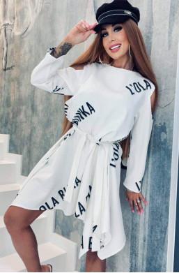 asymetryczna sukienka,sukienka na długi rękaw,sukienka luźna,sukienka na wyjscie,modna sukienka