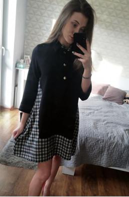 Sukienka z kratką  czarny do szpilek,krotka sukienka,elegancka sukienka,sukienka na  długi rękaw