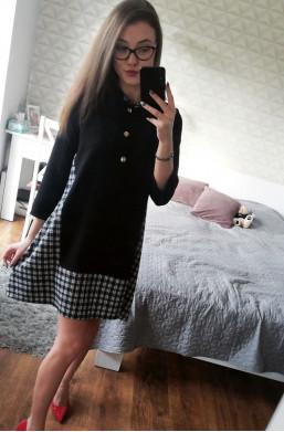 Sukienka z kratką czarny,sukienka z guzikami,krótka sukienka,sukienka z kołnierzykiem,sukienka na kolację