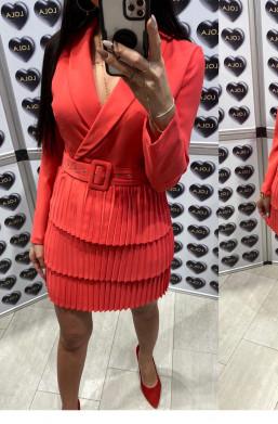 plisowana sukienka,sukienka koralowa,czerwona sukienka,krótka sukienka,ciechanów,warszawa