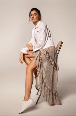 spódnica bopoco,spódnica z przedłużanym tyłem,spódnica z falbankami,spódnica oryginalna