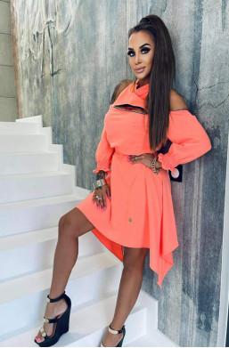 sukienka asymetryczna,sukienka bawełniana,sukienka lola bianka,krótka sukienka,sukienka z odkrytymi ramionami,modna sukienka