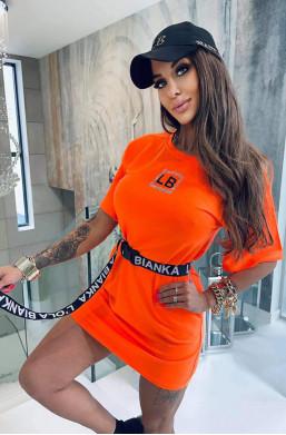 sukienka neonowa,sukienka pomarańczowa,sukienka lola bianka,sukienka przed kolana,krótka sukienka
