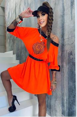 neonowa sukienka,pomarańczowa sukienka,bawełniana sukienka,sukienka lola bianka,modna sukienka