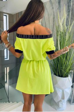 sukienka neonowa,żółta sukienka,bawełniana sukienka,sukienka lola bianka,oryginalna sukienka,hit mody 2021,ciechanów