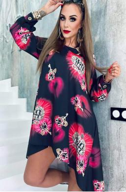 sukienka asymetryczna,sukienka różowa,sukienka lola bianka,sukienka oryginalna,luźna sukienka,bawełniana sukienka,hit mody 2021
