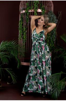 sukienka na ramiączka,długa sukienka,elegancka sukienka,sukienka na wyjście,zielona sukienka