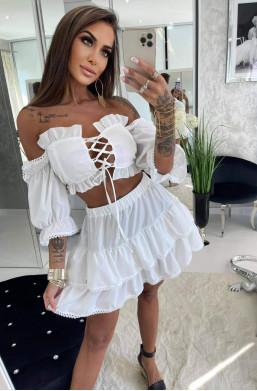 komplet boho,komplet biały,komplet lola bianka,komplet bluzka ze spódniczką,hit mody 2021