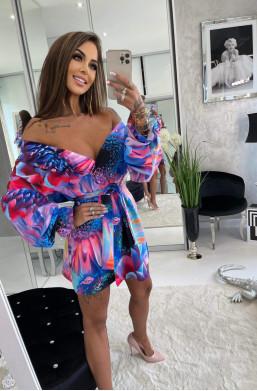 kolorowa sukienka,sukienka z wzorem,sukienka z szerokim rękawem,.sukienka do szpilek