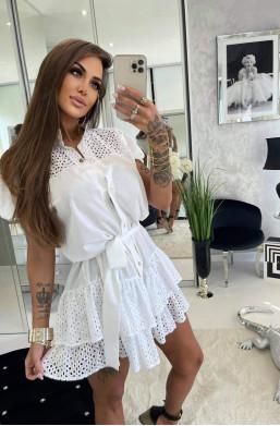 sukienka koszulowa,sukienka na krótki rękaw,luźna sukienka,sukienka z dekoltem,krótka sukienka