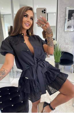 czarna sukienka,sukienka koszulowa,krótka sukienka,elegancka sukienka,sukienka z guzikami
