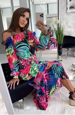 sukienka maxi,sukienka lilie,kolorowa sukienka,sukienka lola bianka,długa sukienka