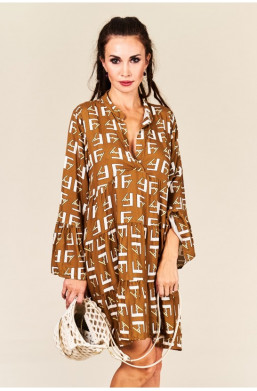 Sukienka Boho beżowa Made in Italy new collection,luźna sukienka,krótka sukienka,sukienka z długim rękawem