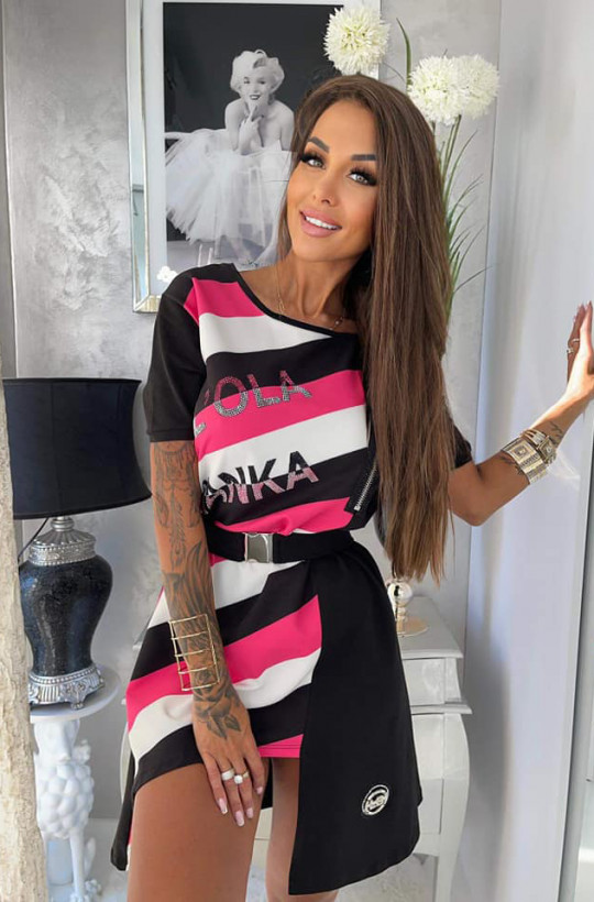 czarna sukienka z różem,bawełniana sukienka,sukienka lola bianka,oryginalna sukienka,krótka sukienka,luźna sukienka