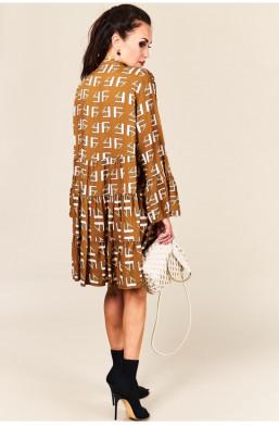 Sukienka Boho beżowa Made in Italy new collection na kolację,krótka sukienka,elegancka sukienka
