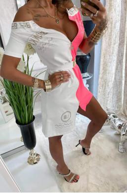 sukienka hiszpanka,różowo biała sukienka,sukienka z dekoltem,krótka sukienka,sukienka na krótki rękaw