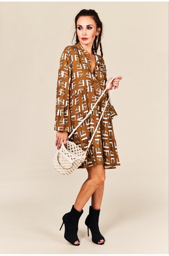 Sukienka Boho beżowa Made in Italy new collection na urodziny,luźna sukienka,krótka sukienka,sukienka z długim rękawem